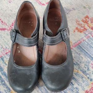 Dansko black leather wedge Mary Jane heels